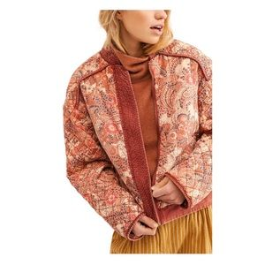 Free People Rust Paisley Quilted Reversible Jacket
